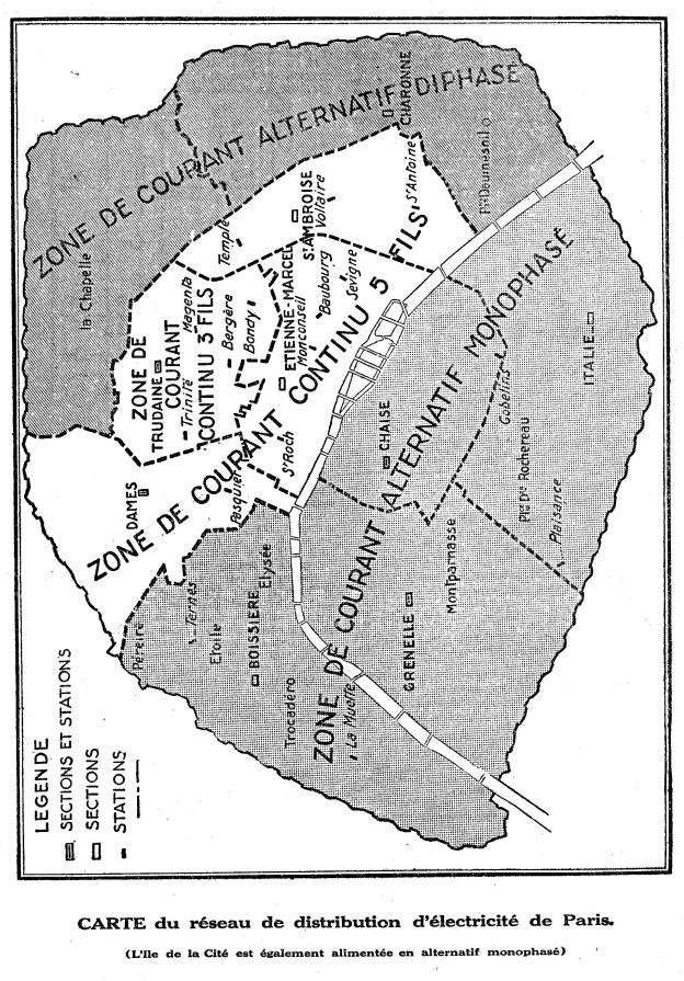 Carte réseau électrique Paris Radio Pratique mars 1931