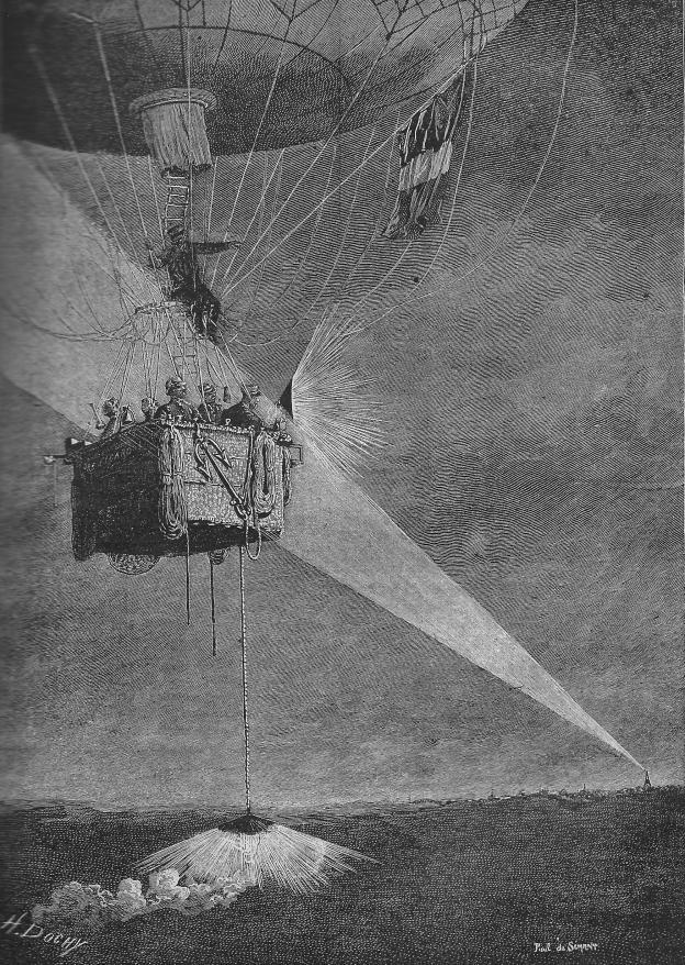 Télégraphie nocture ballon du figaro La science illustrée 1890